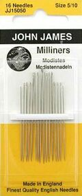 John James Milliners/Straw #5 to #10 Size Needles 16 Needles Total