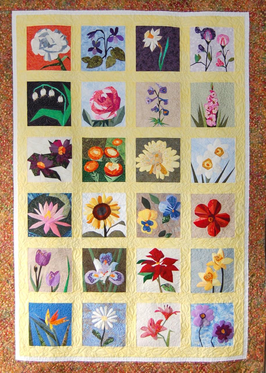 The Flower Garden Quilt Foundation Paper Pieced Quilt 60 X 80 Quilt Paperpiecedquilting Com