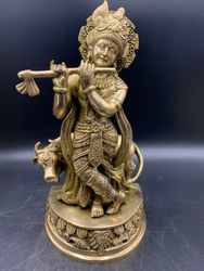 Brass Lord Krishna with Holy Cow