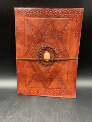 Diamond Leather Notebook W/Yellow-white stone