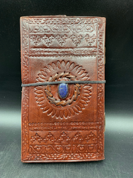 Leather Notebook W/Blue Stone