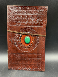 Leather Notebook W/Bright Green Stone