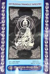 BW BUDDHA TRIANGLE TAPESTRY