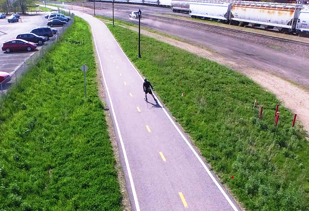 Rollerskiing with a Drone in Minneapolis