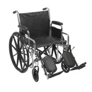 "Chrome Sport Wheelchair, Detachable Desk Arms, Elevating Leg Rests, 16"" Seat"