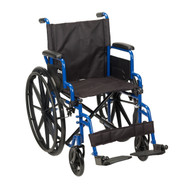 "Blue Streak Wheelchair with Flip Back Desk Arms, Swing Away Footrests, 16"" Seat"