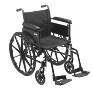 """Cruiser X4 Lightweight Dual Axle Wheelchair with Adjustable Detachable Arms, Full Arms, Swing Away Footrests, 18"""" Seat"""