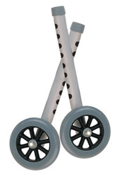 """Walker Wheels with Two Sets of Rear Glides, for Use with Universal Walker, 5"""", Gray, 1 Pair"""