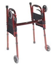 "Portable Folding Travel Walker with 5"" Wheels and Fold up Legs"