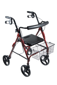 "DLite Lightweight Walker Rollator with 8"" Wheels and Loop Brakes, Red"