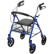 Four Wheel Walker Rollator with Fold Up Removable Back Support, Blue