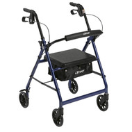 "Walker Rollator with 6"" Wheels, Fold Up Removable Back Support and Padded Seat, Blue"