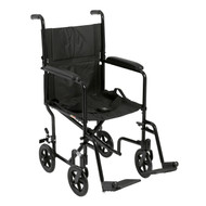 "Lightweight Transport Wheelchair, 17"" Seat, Black"