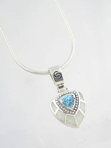 Blue Topaz & Opal Inlay Pendant