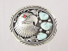 Natural Dry Creek Turquoise & Coral Eagle Belt Buckle 1 1/8""