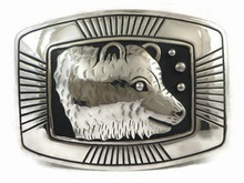 Sterling Silver Large Bear Belt Buckle by Tommy Singer, Navajo