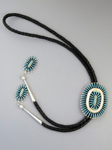 Turquoise Needle Point Cluster Bolo Tie by Gerald Etsate, Zuni
