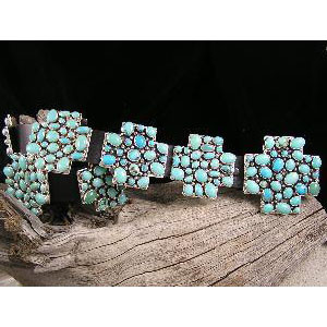 Navajo Turquoise Cluster Cross Concho Belt