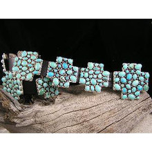 Navajo Turquoise Cluster Cross Concho Belt