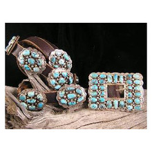 Spiderweb Turquoise Cluster Concho Belt