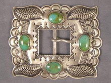 Large Handmade Turquoise Belt Buckle