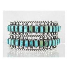 Sterling Silver Turquoise Two Row Bracelet - Betsoi