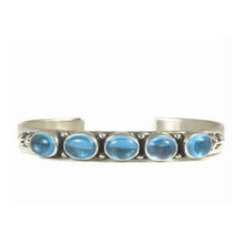 Sterling Silver Blue Topaz Bracelet by D Wylie, Navajo