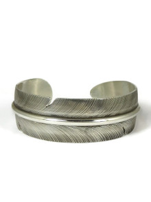 "Sterling Silver Feather Bracelet 3/4"" by Lena Platero, Navajo"