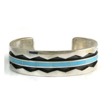 Sleeping Beauty Turquoise Inlay Bracelet - Large - by Phil Loretto, Navajo