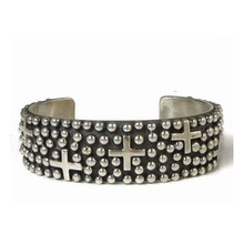 "Sterling Silver Cross Bracelet 7/8"" by Ronnie Willie, Navajo"