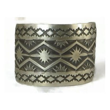 Hand Stamped Wide Sterling Silver Bracelet by Nora Bill, Navajo