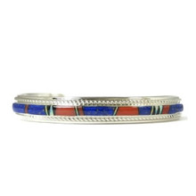 Lapis, Coral, Jet & Opal Inlay Bracelet by Thomas Francisco
