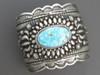 Handmade Wide Silver Water Web Kingman Turquoise Cuff Bracelet by Darryl Becenti