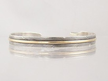 "12k Gold & Sterling Silver Feather Bracelet 1/4"" by Lena Platero, Navajo"