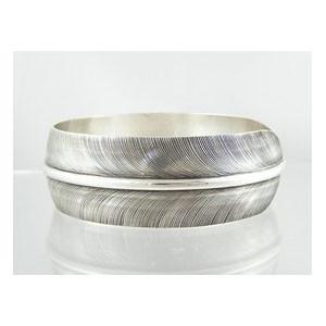"Sterling Silver Feather Bangle Bracelet 1"" by Lena Platero, Navajo"