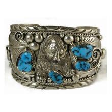 Sterling Silver Turquoise Bear Bracelet - Large Size