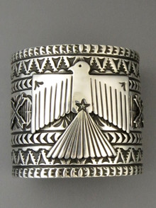 "Silver Thunderbird Cuff Bracelet 2 1/4"" Wide by Sunshine Reeves"