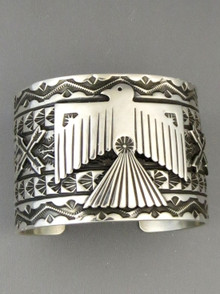 "Silver Thunderbird Cuff Bracelet 1 5/8"" Wide by Sunshine Reeves"