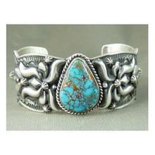 Natural Godber Turquoise Bracelet by Darryl Becenti, Native American Bracelet