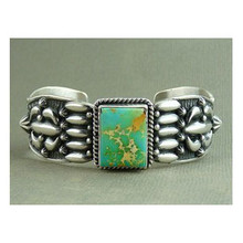 Sterling Silver Royston Turquoise Bracelet by Darryl Becenti, Native American Turquoise Bracelet