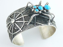 Sterling Silver Sleeping Beauty Spider Bracelet by Darrin Livingston, Navajo