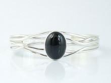 Sterling Silver Branch Wire Onyx Bracelet by Angela Martin, Navajo