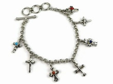 Sterling Silver Gemstone Cross Charm Bracelet