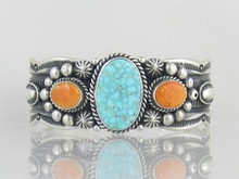 Natural Turquoise Mountain & Spiny Oyster Shell Gem Bracelet