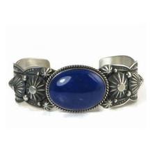 Handmade Sterling Silver Lapis Bracelet by Albert Jake, Navajo - Men's Lapis Bracelet