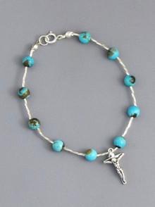 "Turquoise Rosary Bead Bracelet 8"" (CR255)"