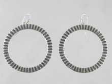 Sterling Silver Stamped Circle Earrings - Large (ER0340)