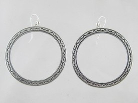 Sterling Silver Stamped Circle of Life Earrings - Large (ER0341)