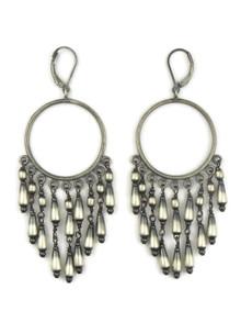 Antiqued Sterling Silver Beaded Dangle Earrings