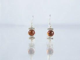 14k Gold & Silver Amber Earrings